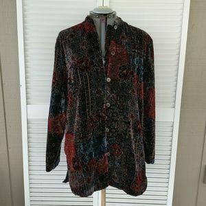 Crushed velvet rose button up light jacket top XL